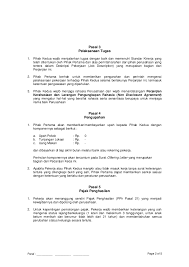 contoh perjanjian kontrak kerja