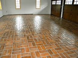 concrete tiles garage floor with wax finish