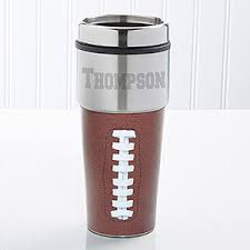 Engraved Football Gifts Touch Down Personalized Travel Mug Fall Football Coffee
