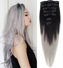 grey hair extensions 12inch 26inch 120g 2pcs lot indian ombre grey hair clip