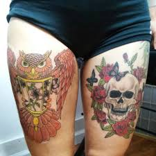 owl and skull thigh tattoos by ngoc50 on deviantart