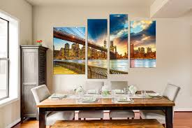 4 piece large canvas brooklyn bridge canvas wall art cityscape 4 piece large pictures dining room canvas print city wall art city bridge
