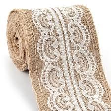 burlap and lace ribbon wedding burlap belt string craft lace ribbon roll white 2 4