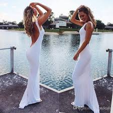 Cheap Brides Dresses White Chiffon Sheath Backless Beach Wedding Dresses 2017 Low Back