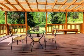 Trellis Construction Rustic Deck With Covered Outdoor Seating Area U0026 Trellis In