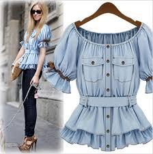 denim blouses 2018 2015 f boat neck denim shirt denim blouses trendy womens