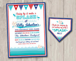 baseball pool party invitation summer birthday invitation