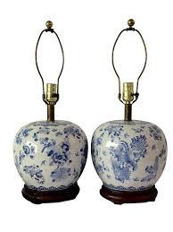 vintage chinese blue white ginger jar lamps pair chairish