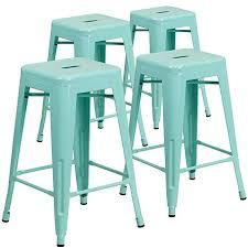 indoor outdoor counter height stool flash furnitur flash furniture 4 pk 24 high backless mint green indoor outdoor