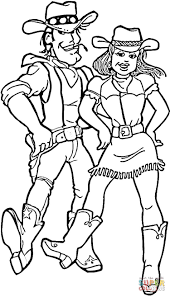 cowboy and cowgirl coloring page free printable coloring pages