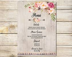 customizable menu templates floral watercolor menu card diy printable pdf or handmade