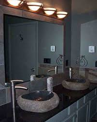 round lighting sconces over big mirror for bathroom vanity part