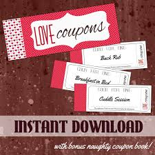 printable love coupon book for him or for her with bonus