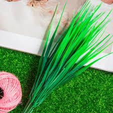 lovely 7 fork green grass artificial plants for plastic flowers