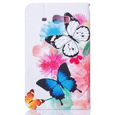 bright case with a picture of butterflies flowers animals and