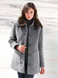 peter hahn jacket in 100 wool women stone grey melange jackets