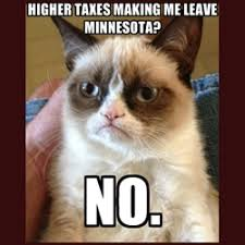 Moving Away Meme - grumpy cats complain to mn public radio about taxes but not really