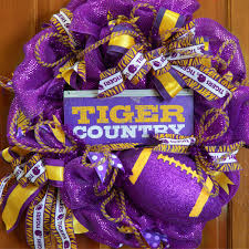 12x5 collegiate tin sign lsu tiger country 393674 craftoutlet com