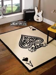 Black Large Rug Large Modern Ace Of Spades Skull Design Black White Rug In 120 X