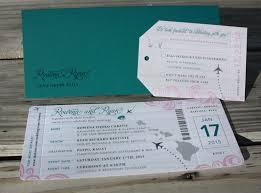 wedding invitations hawaii teal blush gray swirls planes hawaii map ticket wedding