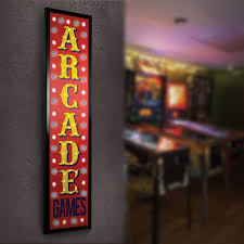 arcade games framed marquee man cave game room led signs ebay