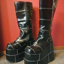 womens moto boots size 12 s shiny black combat boots on poshmark