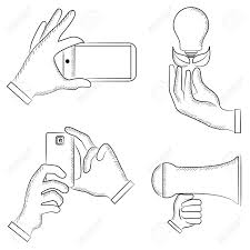 sketch hand holding smart phone light bulb royalty free cliparts
