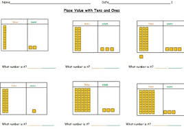 tens and units worksheets printable place value worksheets using tens and ones base ten blocks to