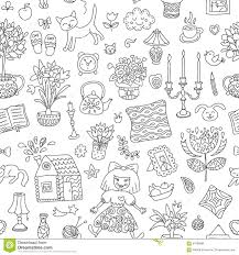 home sweet home seamless vector pattern with home interior