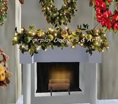 Elegant Christmas Mantel Decor by Second Life Marketplace Elegant Shimmering Christmas Swag For Mantel