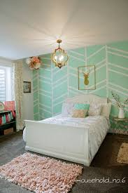 Green Wall Bedroom by Little Girls Mint And Gold Bedroom Harringbone Wall Kids Space