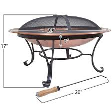 large 29 inch outdoor fire pit in 100 solid copper with screen