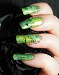 green swirly dry marble nail art the adorned claw