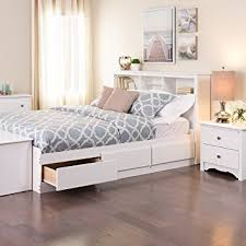 Platform Bed With Shelves Plans by Amazon Com White Queen Mate U0027s Platform Storage Bed With 6 Drawers
