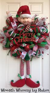 xl deco mesh christmas elf wreath in emerald green u0026 red holiday