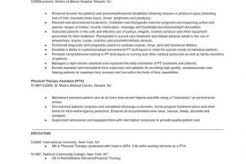 Sample Physical Therapist Resume by Doctor Of Physical Therapy Resume Reentrycorps