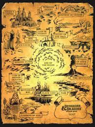 Cartoon World Map by Dungeons U0026 Dragons Cartoon Encyclopedia Sticker Book 1985