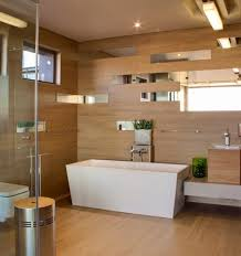 Laminate Flooring With Free Fitting Contemporary Bathroom With White Square Freestanding Soaking