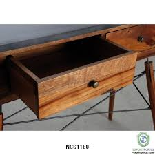 wood and metal console table solid suar wood and metal console table with 2 drawers product