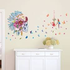 beautiful butterfly skull flower and parrot birds backdrop home
