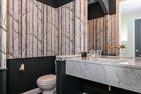 black and white bathroom with woods wallpaper contemporary