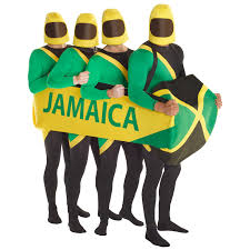 Jamaican Flag Day Jamaican Bobsled Team Fancy Dress Costume 90s Bobsleigh Morphsuit