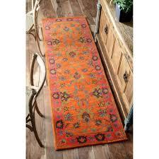 Overdyed Runner Rug Gracewood Hollow Odyssey Handmade Overdyed Traditional Orange Wool