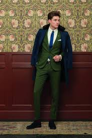 men u0027s navy fur collar coat dark green suit white dress shirt