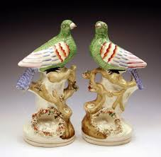 bird figures pair antique victorian staffordshire pottery figures of exotic