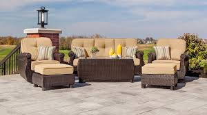 Patio Chairs With Ottomans by Breckenridge Tan 6 Pc Patio Furniture Set Swivel Rockers Sofa