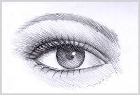 drawn eye simple pencil and in color drawn eye simple