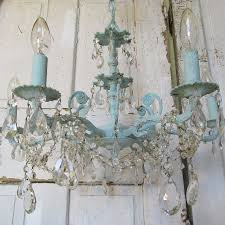 Shabby Chic Lighting by Blue Chandelier Hand Painted Distressed Robins Egg Shabby Cottage