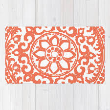 Flower Area Rug Floral Medallion Rug Coral And White Deco Flower Area