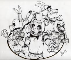 fnaf mangle coloring pages freddy fazbear s pizza happy family no color by victorz1 on